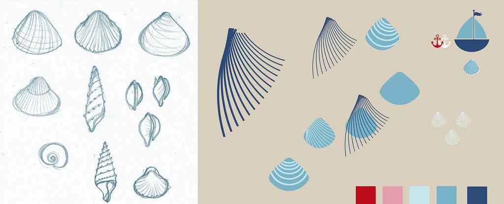 Muscheln-Muster-Skizzen